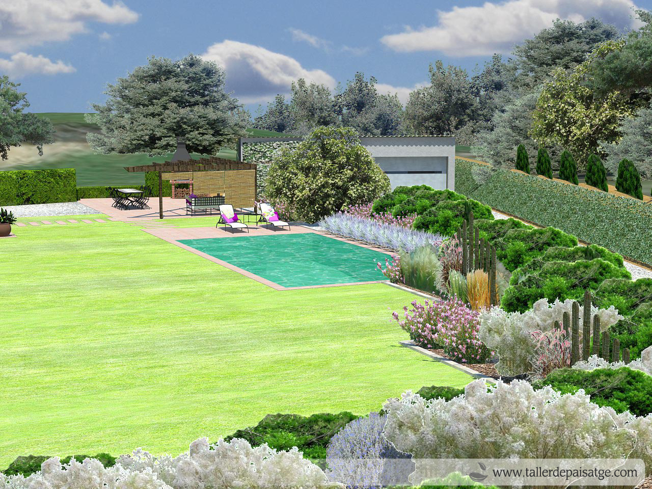 Disseny jardí 3D masia