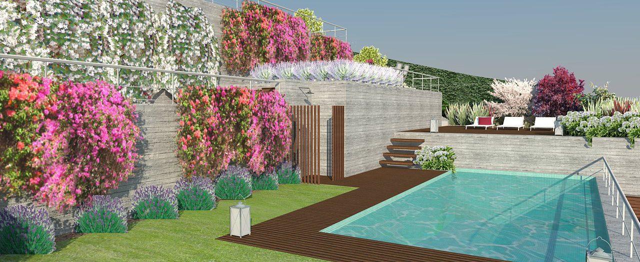 Diseño de Jardín y piscina compartida en Cabrils