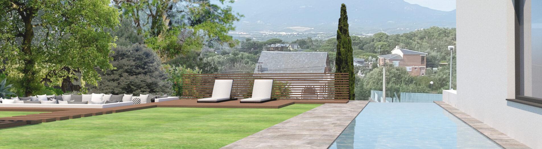 Diseño Jardín y piscina en Vallgorguina